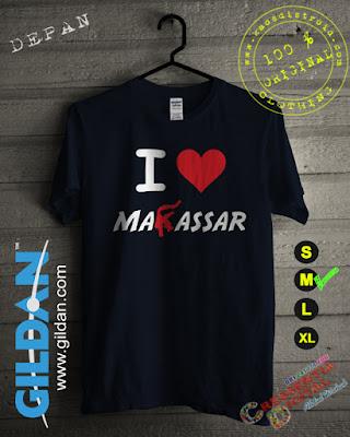 Baju Kaos DISTRO Desain I Love Makassar Warna Biru Dongker