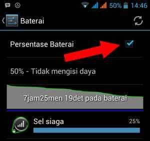 memunculkan ikon presentase baterai