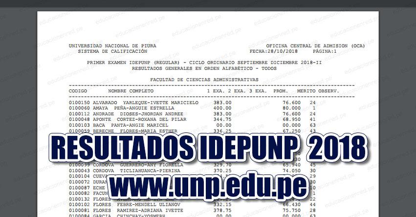 Resultados IDEPUNP ADES UNP 2018-2 (Examen 28 Octubre) Resultados Primer Examen - Ciclo Ordinario Septiembre Diciembre (Sullana - Talara - Paita - Sechura - Chulucanas - Tambogrande - Piura - Ayabaca - Huancabamba) Universidad Nacional de Piura - www.unp.edu.pe