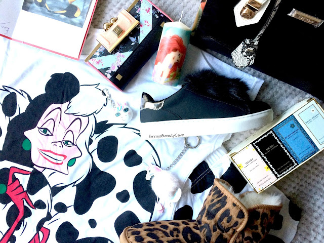 Cruella Pyjamas, River Island Bag and Purse, Pom Pom Shoes, Unicorn key ring, unicorn usb