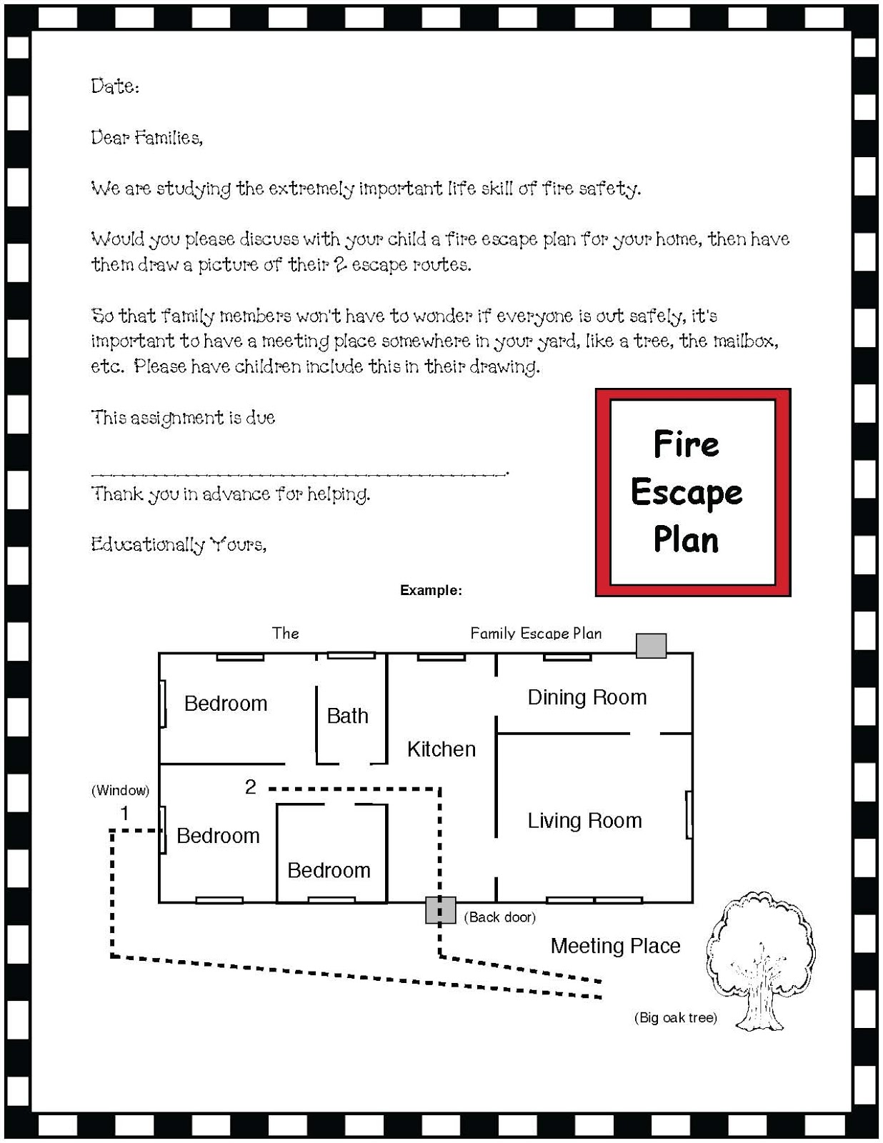 Fire safety plan classroom freebies for Fire escape plan worksheet