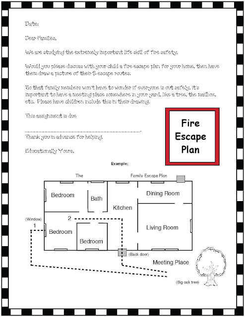 Classroom freebies fire safety plan for Fire escape plan worksheet