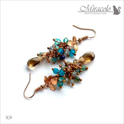 MIracolo, kwarc dymny, agat, smoky quartz earrings