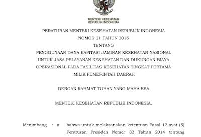 Peraturan Menteri Kesehatan Nomor 21 Tahun 2016 Tentang Penggunaan Dana Kapitasi Jaminan Kesehatan Nasional Untuk Jasa Pelayanan Kesehatan Dan Dukungan Biaya Operasional Pada Fasilitas Kesehatan Tingkat Pertama Milik Pemerintah Daerah