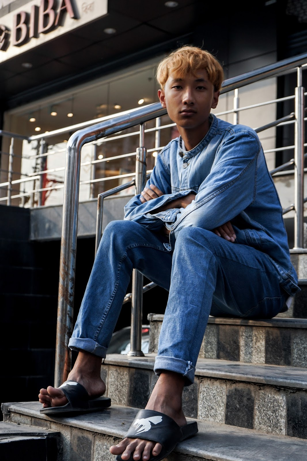 TheQuirkyminimal by Kangkan Rabha Menswear style & lifestyle blog, Street style, kangkan rabha, Summer fashion outfit look, Double denim, ginger blonde hair color