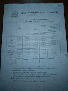 UNIOSUN Fresh and Stale Undergraduate School Fee 2017/2018 Session