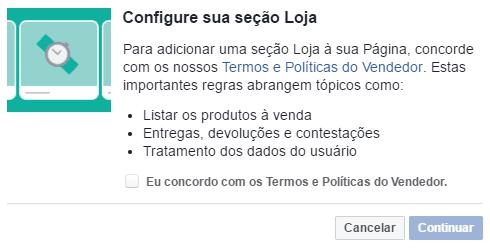 (Quinto passo - aceitar os termos do Facebook)