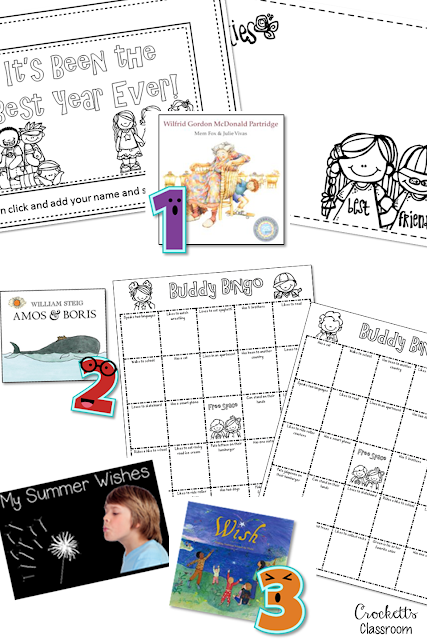 Freebie!  Three wonderful books to share at the end of the school year with an activity for each!