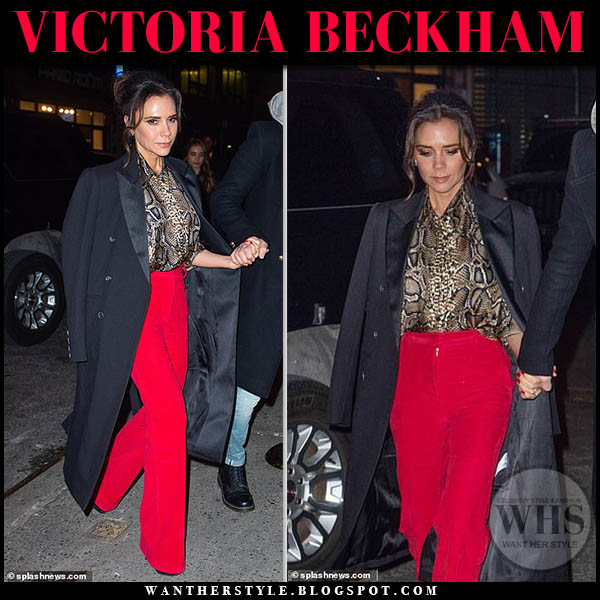 Victoria Beckham in black coat and bright red trousers night out outfit january 22