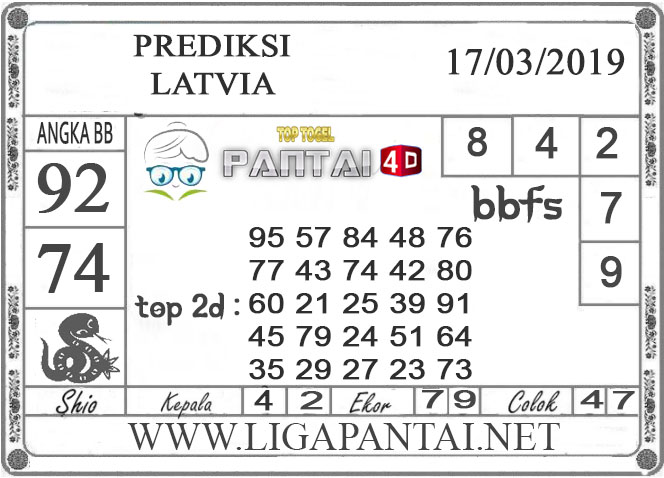 """Prediksi Togel """"LATVIA"""" PANTAI4D 17 MARET 2019"""