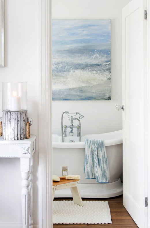 Large Oversized Ocean Art Bathroom Decor Idea above Bath Tub