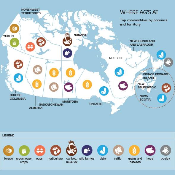 mapa de agricultura de canadá