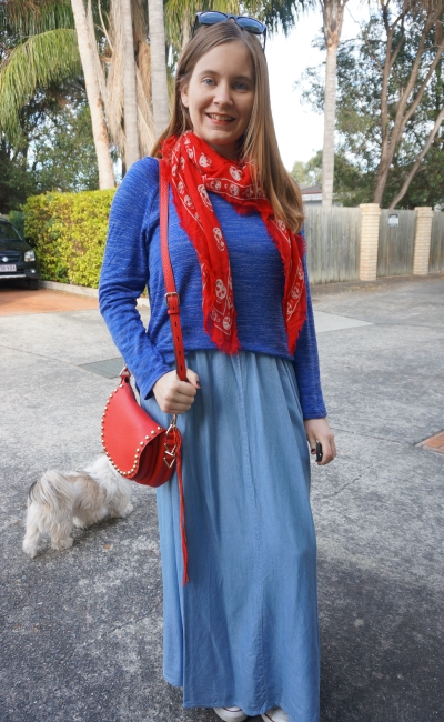 monochrome blue maxi skirt knit winter outfit with red accessories saddle bag | Away From Blue