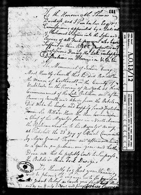 Climbing My Family Tree: First Page of Memorial Of Joshua Currey, claim for reparations
