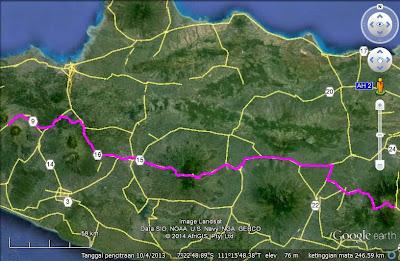 Screen capture google earth perjalanan hari keempat.