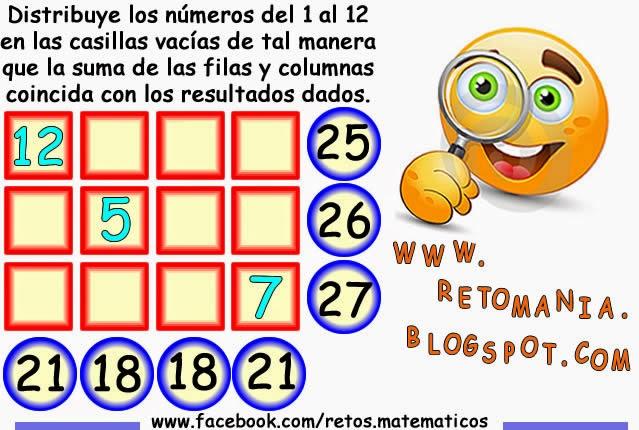 Piensa rápido, Sólo para genios, Distribuye los números, reto matemático, desafío matemático, problema matemático, retos con solución, problemas de lógica
