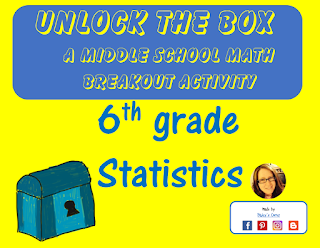 Unlock the Box, a free 6th grade math statistics breakout activity