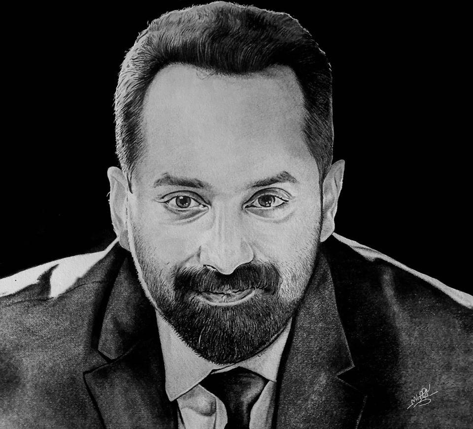 Pencil drawing of actor Fahad Fasil