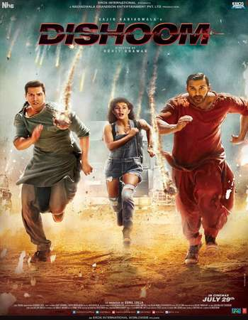 Poster Of Dishoom 2016 Hindi 450MB HDRip 720p ESubs HEVC Watch Online Free Download downloadhub.in