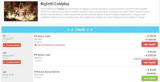 Quanto costa un biglietto per i Coldplay
