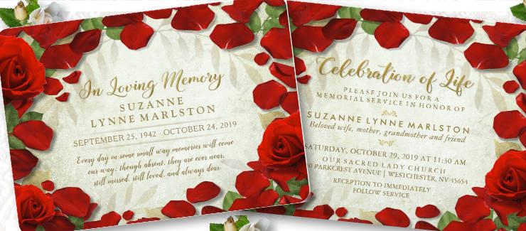 red rose petals custom memorial service invitation