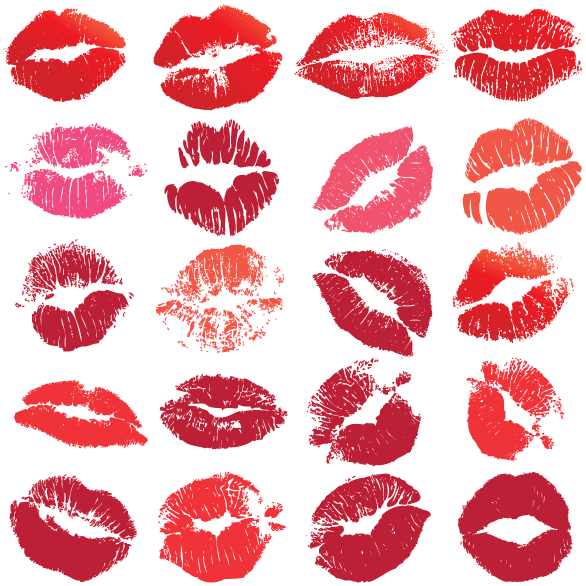 Besos de labios pintados
