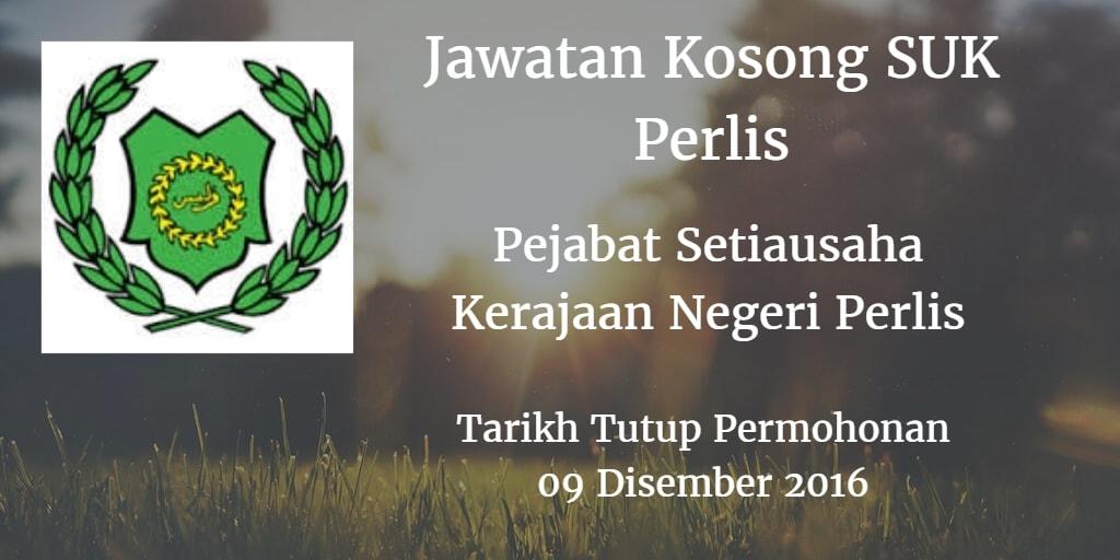 Jawatan Kosong SUK Perlis  09 Disember 2016