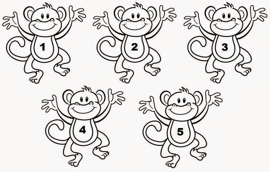 5 little monkeys coloring page - o ba de ideias de fabio speck video activities for kids