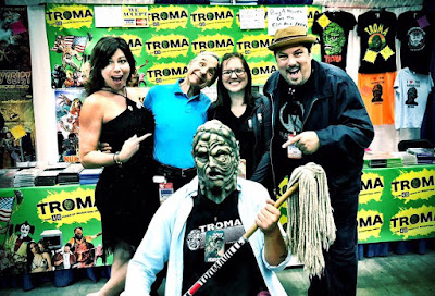 Greg Grunber, Lloyd Kaufman, Toxie and Rachel in the Troma booth at Indy PopCon
