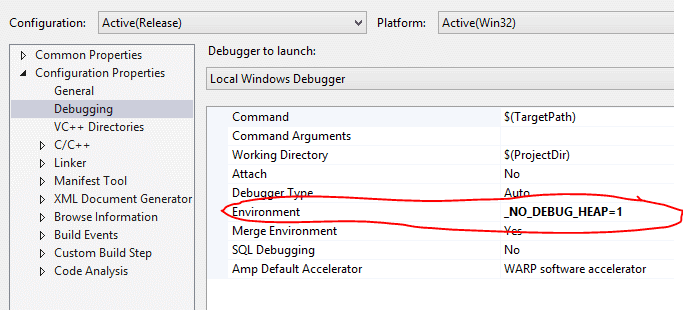 Disabling debug heap in Visual Studio