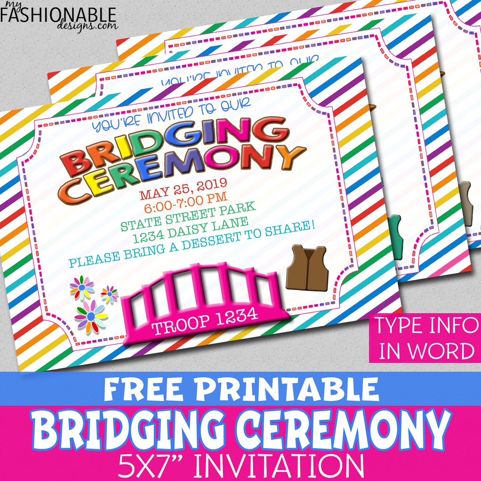My Fashionable Designs Free Printable Bridging Invitations