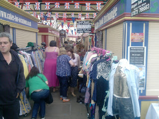 Busy crowds in Stockport market 2012