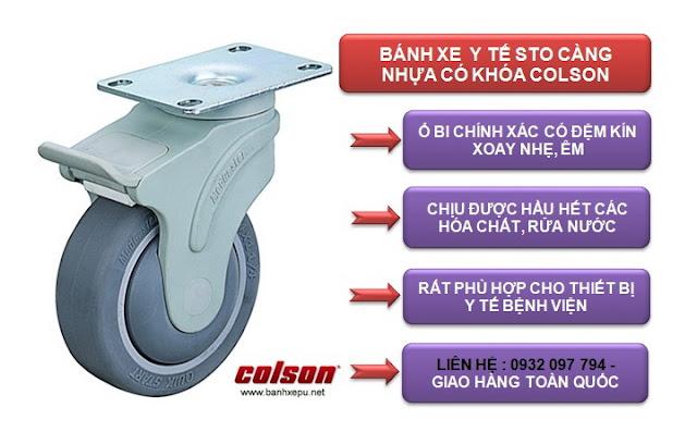 Bánh xe cao su xoay có khóa chịu lực 70kg | STO-3856-448BRK4 www.banhxepu.net