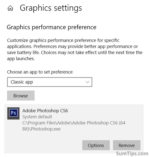Classic app in Graphics Settings
