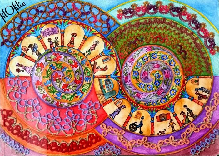 Spirale du temps, aquarelle et frivolité dentelle aux navettes,  création filofilie