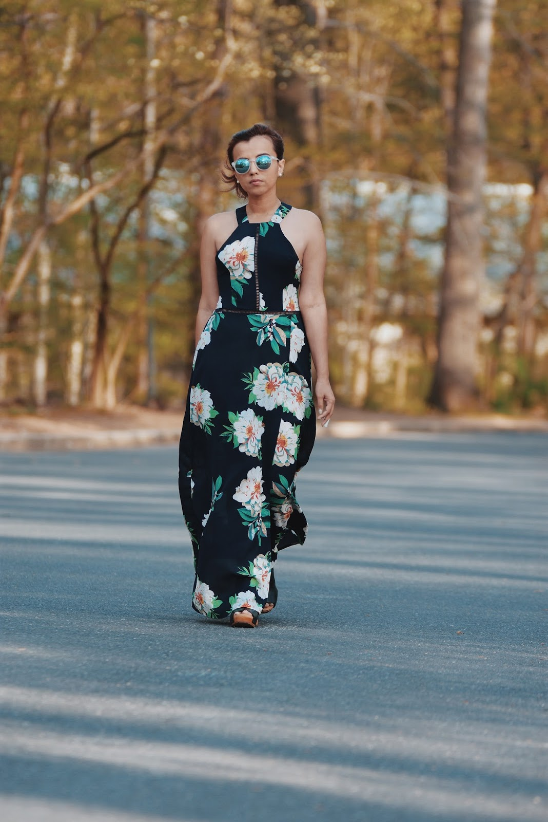Floral-Print Split Summer Maxi Dress by Mari Estilo-Sunski sunglasses-fashionblogger-lookoftheday-dcblogger-