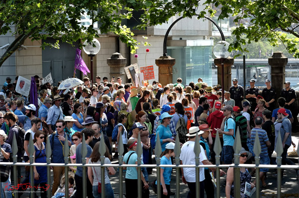 Breaking up the march peacefully - marching Macquarie Street- Sydney, Climate Change March, The Domain, Macquarie Street, Climate Change, Protest, #NoPlanetNoFuture, #PeoplesClimate, #PeoplesClimateMarch, #Sydney,
