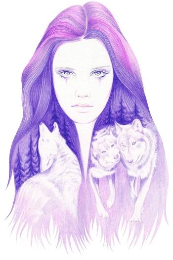 """Wolf Spirit"" by Andrea Hrnjak | dibujos bonitos a lapiz | imagenes lindas | illustration art"