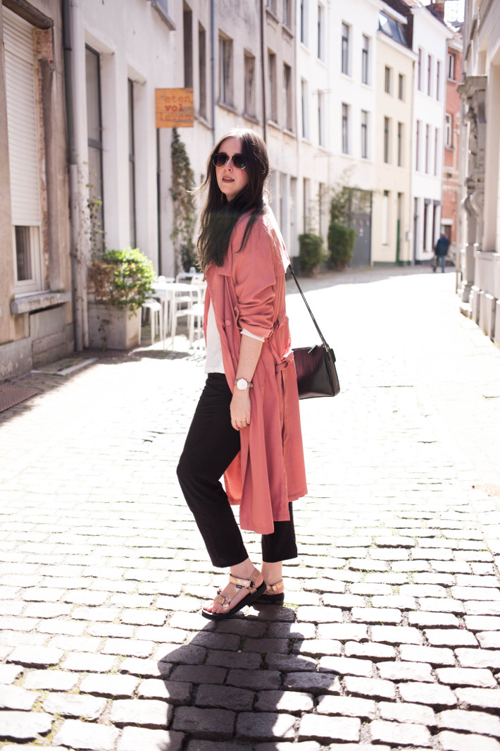 Outfit: professional in Tevas, pink trench and high neck Object blouse