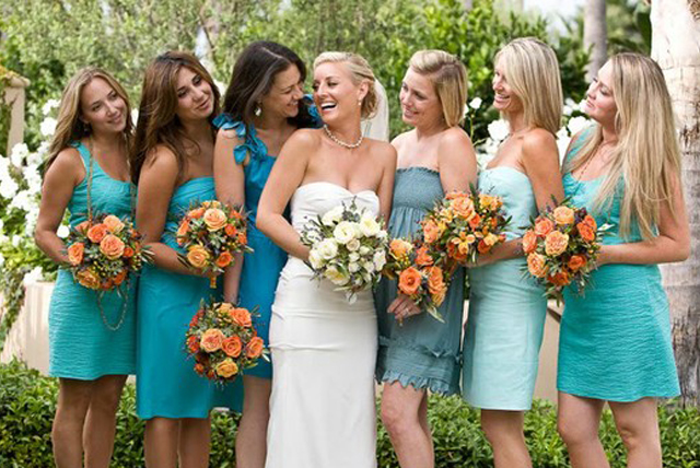 Simple Wedding Dresses For Justice Of The Peace: Peachy Keen Color Scheme: Orange & Blue