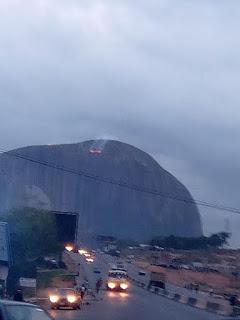 Zuma rock on fire since yesterday evening