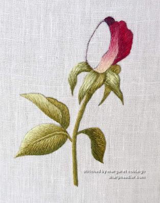 Embroidered rosebud in progress (needlepainting design by Trish Burr)