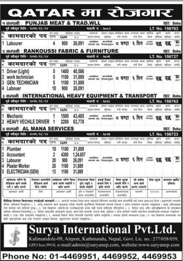Jobs For Nepali In Qatar Salary -Rs.40,586/