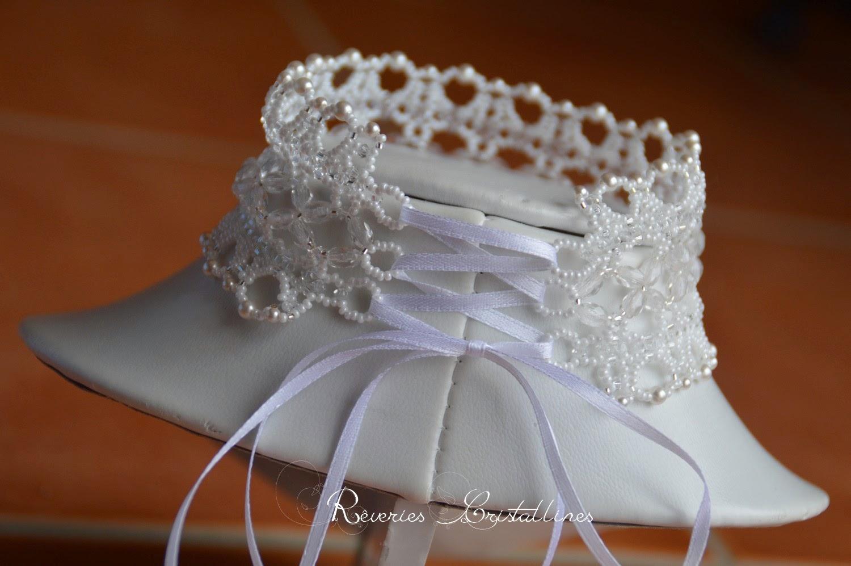 collier ras du cou mariage ruban blanc