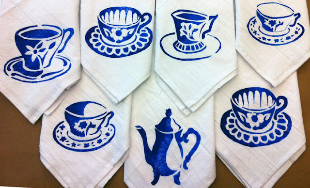 Stencil Printed Tea Towels - a how-to by Margaret Peot