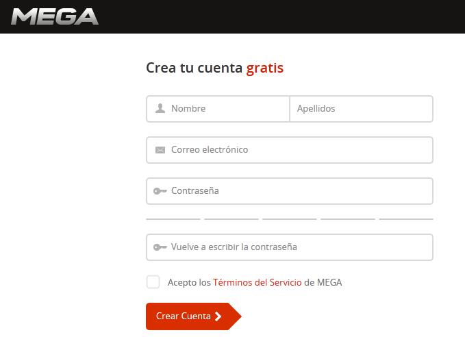 Formulario de Registro en MEGA para crear una cuenta