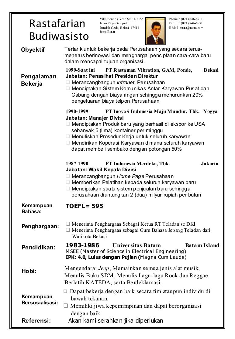 Contoh Daftar Riwayat Hidup Indonesia Cv Nabila
