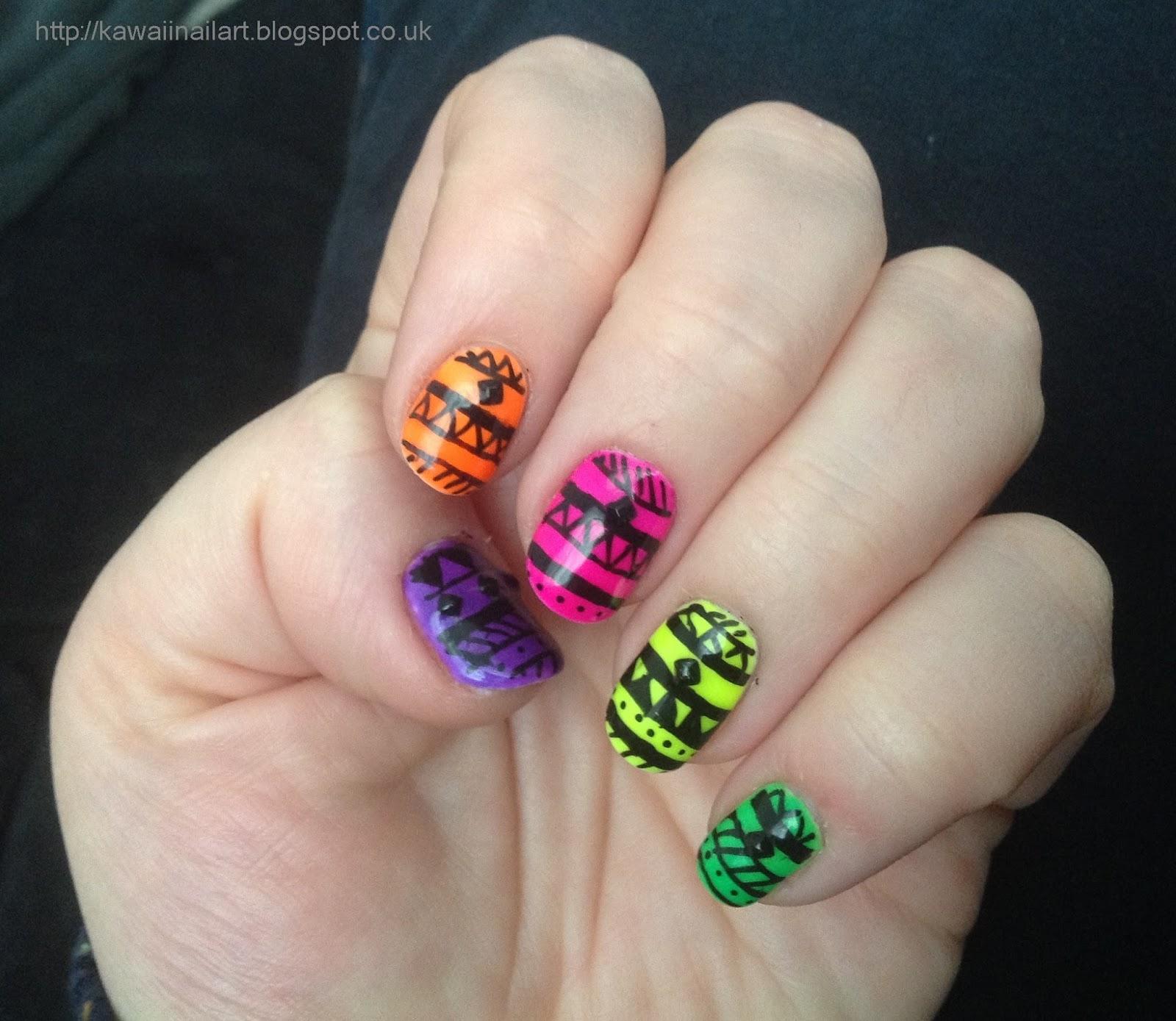 Kawaii Nail Art: Ibd Just Gel Neon Tribal Nail Art