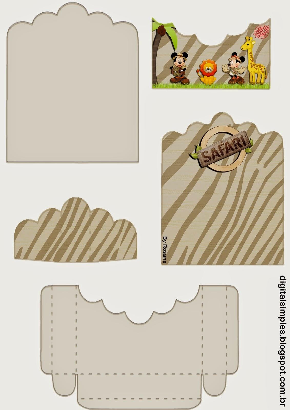 Mickey y Minnie de Safari: Soporte para Golosinas para Imprimir Gratis.