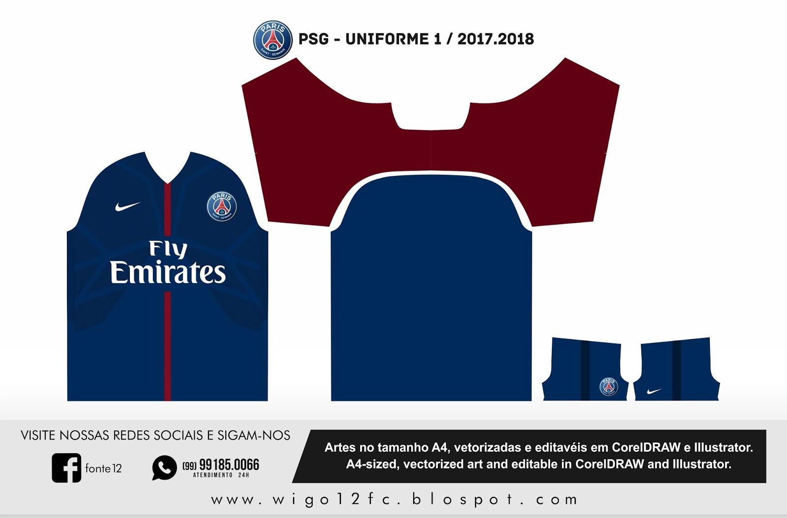 fontes camisas futebol uniforme psg 2017 2018. Black Bedroom Furniture Sets. Home Design Ideas